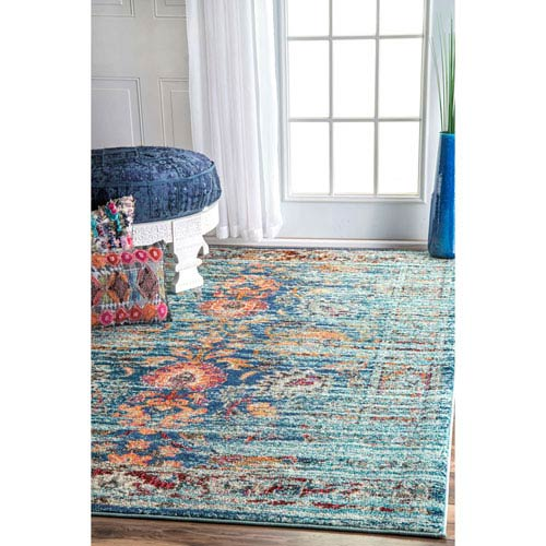 Aqua Rectangular: 5 Ft. 3 In. x 7 Ft. 7 In. Rug