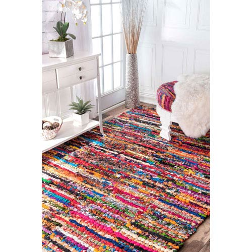 Braided Chindi Cotton Michiko Multicolor Runner: 2 Ft. 6 In. x 8 Ft. Rug
