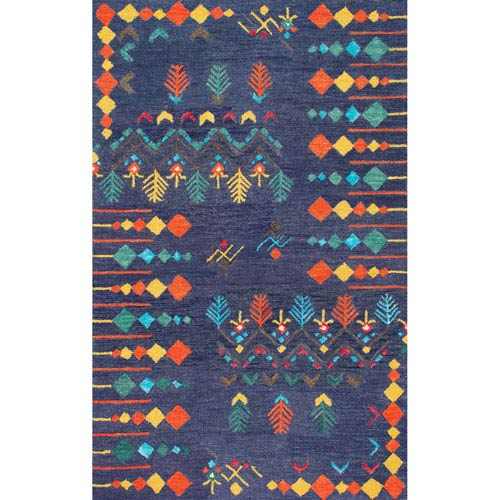 Gabbeh Tribal Jannet Navy Rectangular: 3 Ft. x 5 Ft. Rug