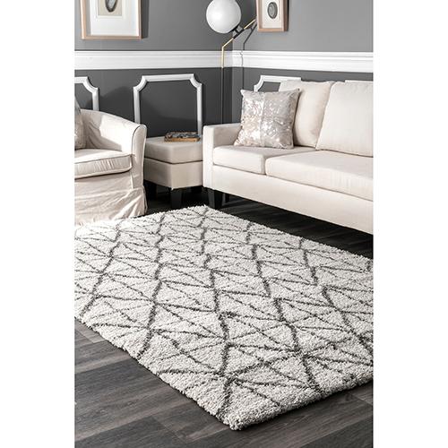 nuLOOM Ivory Keely Tiles Shaggy Rectangular: 4 Ft. x 6 Ft.
