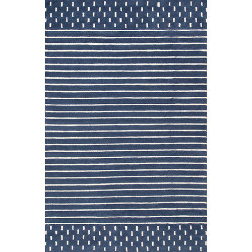 nuLOOM Navy Hand Loomed Marlowe Stripes Rectangular: 5 Ft. x 8 Ft.