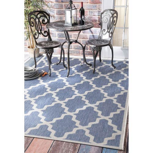 Nuloom Outdoor Blue Rectangular 6 Ft 3 Inch X 9 2