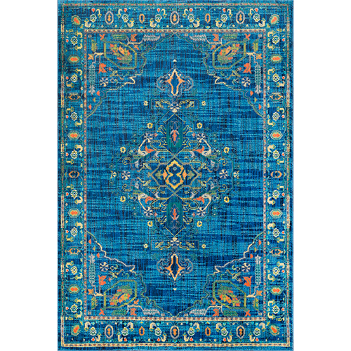 Vintage Tamesha Medallion Blue Rectangular: 5 Ft. 3 In. x 7 Ft. 8 In. Rug