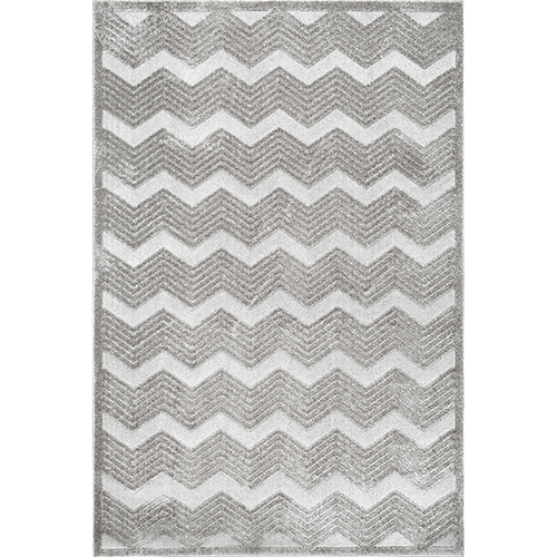 nuLOOM Grey High-Low Chevron Sallee Rectangular: 5 Ft. 3 In. x 7 Ft. 6 In.