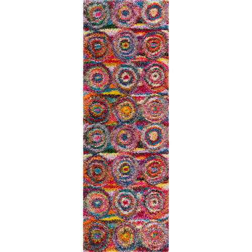 nuLOOM Kindra Circles Shaggy Multicolor Rectangular: 3 Ft. 3 In. x 5 Ft. Rug