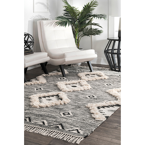 Grey Aubrey Tribal Fringe Shag Rectangular: 5 Ft. x 8 Ft.