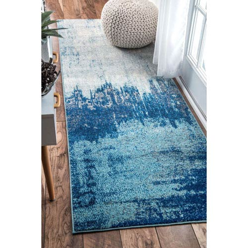 Alayna Abstract Blue Runner: 2 Ft. 8 In. x 8 Ft. Rug