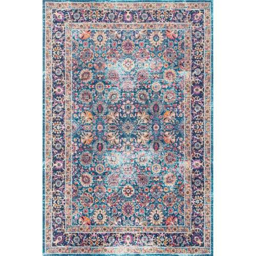 nuLOOM Vintage Persian Floral Isela Blue Runner: 2 Ft. 7 In. x 8 Ft. Rug