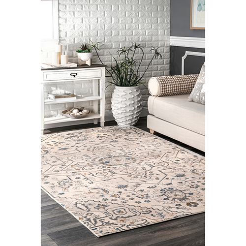 nuLOOM Beige Vintage Librada Medallion Rectangular: 3 Ft. 3 In. x 4 Ft. 3 In.