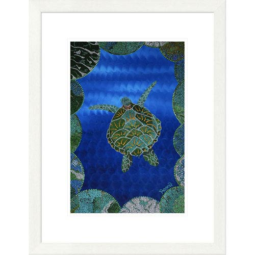 Global Gallery Turtle On Blue By Rogest, 26 X 20-Inch Wall Art
