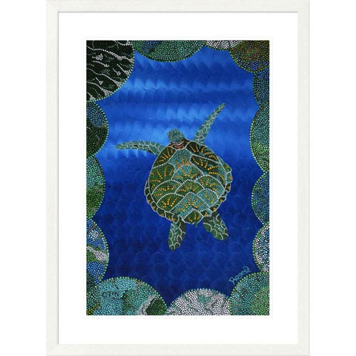 Global Gallery Turtle On Blue By Rogest, 38 X 28-Inch Wall Art