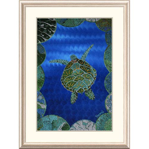 Global Gallery Turtle On Blue By Rogest, 38 X 28-Inch Wall Art