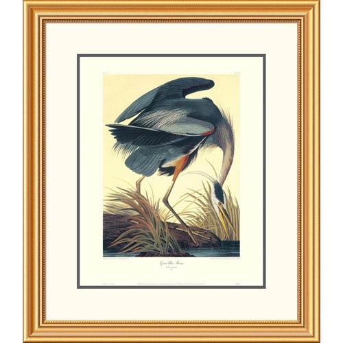 Global Gallery Great Blue Heron By John James Audubon, 30 X 26-Inch Wall Art With Decorative Border