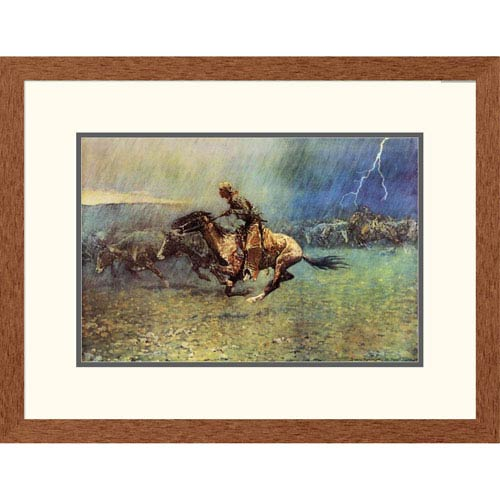 Global Gallery The Stampede By Frederic Remington, 20 X 26 Inch Wall Art
