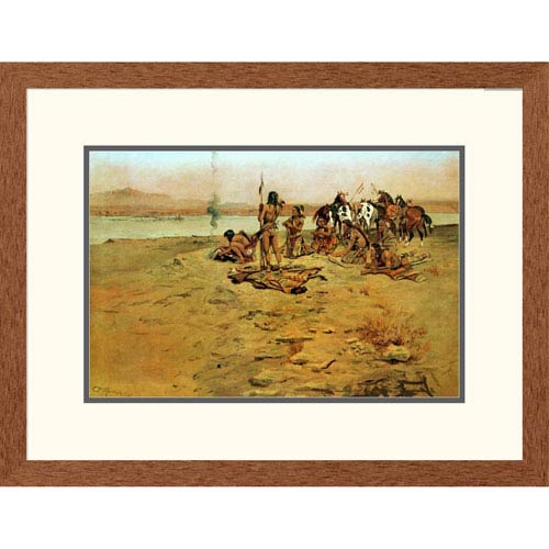 Global Gallery The Signal Fire By Charles M. Russell, 20 X 26-Inch Wall Art