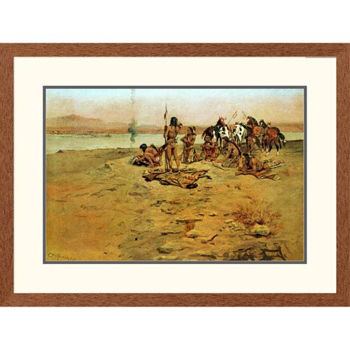 Global Gallery The Signal Fire By Charles M. Russell, 24 X 32-Inch Wall Art