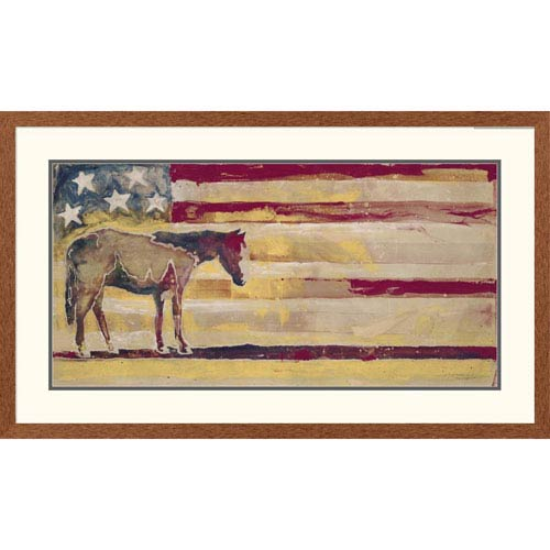 Global Gallery Horse Red, White And Blue By Michael Swearngin, 26 X 44-Inch Wall Art
