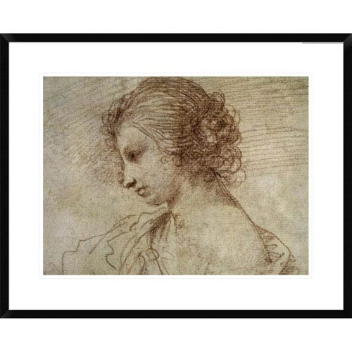 Global Gallery Profile Of A Woman By Guercino, 24 X 30-Inch Wall Art