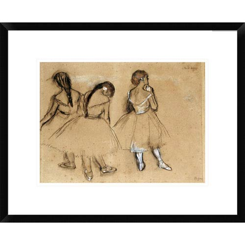 Global Gallery Three Dancers By Edgar Degas, 20 X 22-Inch Wall Art