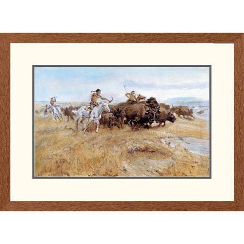 Global Gallery Buffalo Hunt By Charles M. Russell, 21 X 30-Inch Wall Art