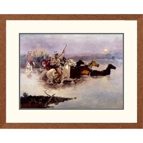 Global Gallery Crossing The River By Charles M. Russell, 23 X 30-Inch Wall Art