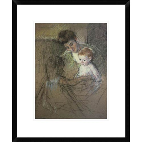 Global Gallery Sketch For Mother And Daughter Looking At The Baby 1905 By Mary Cassatt, 22 X 18-Inch Wall Art