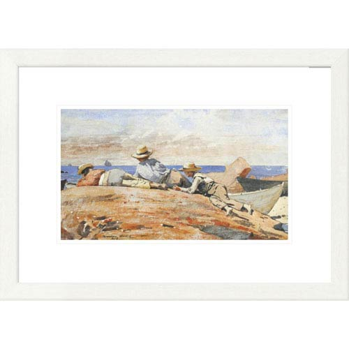 Global Gallery Three Boys On The Shore By Winslow Homer, 17 X 24-Inch Wall Art