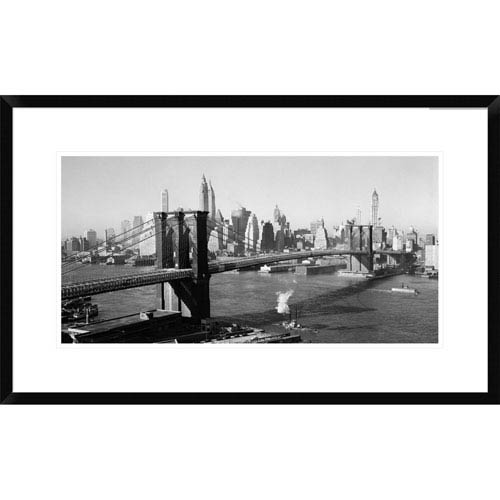 Global Gallery Brooklyn Bridge With Manhattan Skyline, 1930S By Unknown, 18 X 30-Inch Wall Art