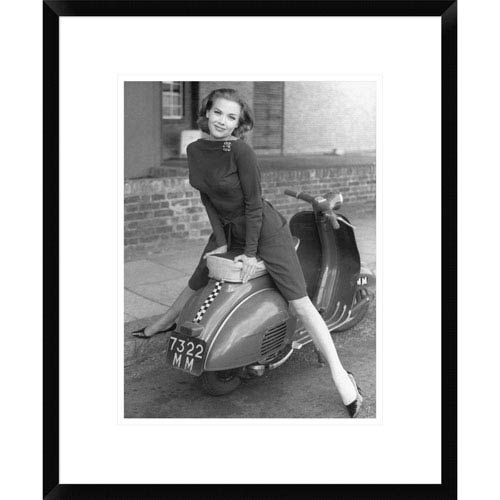 Global Gallery Posing On Motor Scooter By Unknown, 22 X 18-Inch Wall Art