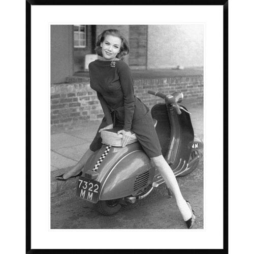 Global Gallery Posing On Motor Scooter By Unknown, 38 X 30-Inch Wall Art