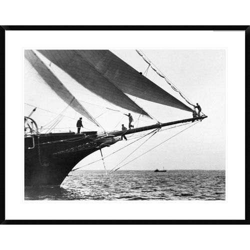 Global Gallery Ship Crewmen Standing On The Bowsprit, 1923 By Edwin Levick, 30 X 38-Inch Wall Art
