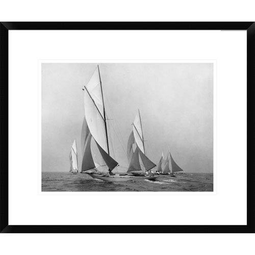 Global Gallery Sailboats Sailing Downwind, Ca. 1900 1920 By Edwin Levick, 18 X 22-Inch Wall Art