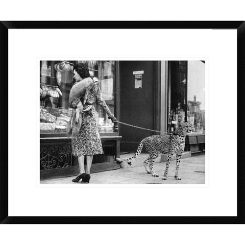 Global Gallery Elegant Woman With Cheetah By Anonymous, 18 X 22-Inch Wall Art