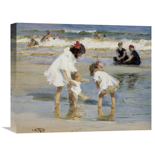 Global Gallery Children Playing At The Seashore By Edward Henry Potthast, 20 X 16-Inch Wall Art