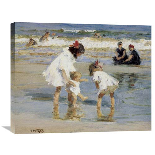 Global Gallery Children Playing At The Seashore By Edward Henry Potthast, 28 X 22-Inch Wall Art