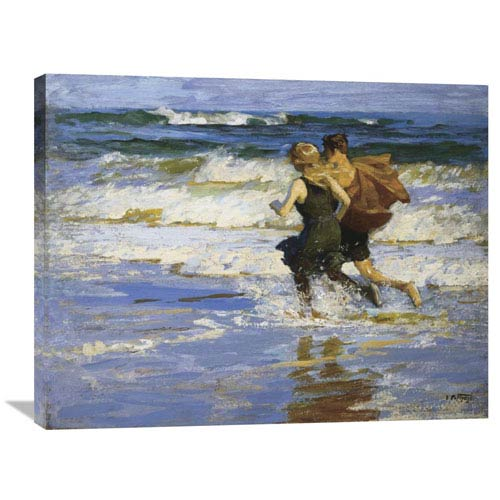 Global Gallery At The Beach By Edward Henry Potthast, 35 X 28-Inch Wall Art