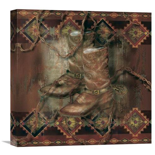 Global Gallery Western Boot By Alma Lee, 18 X 18-Inch Wall Art