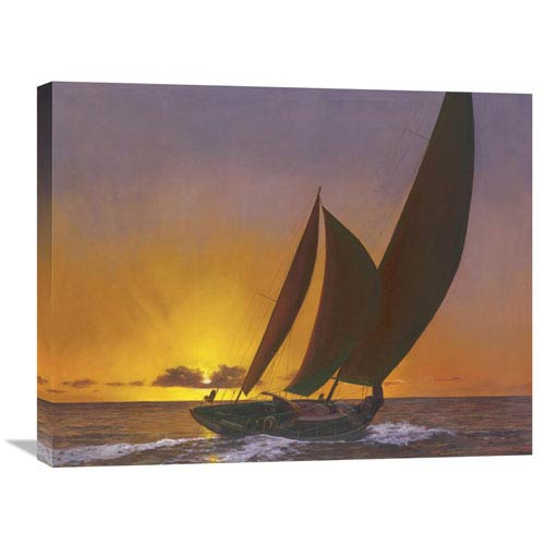 Global Gallery Sails In The Sunset By Diane Romanello, 28 X 22-Inch Wall Art