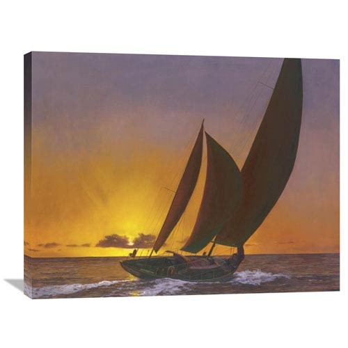 Global Gallery Sails In The Sunset By Diane Romanello, 35 X 28-Inch Wall Art