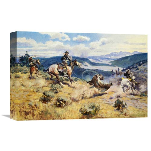 Global Gallery Loops And Swift Horses Are Surer Than Lead By Charles M. Russell, 18 X 12-Inch Wall Art