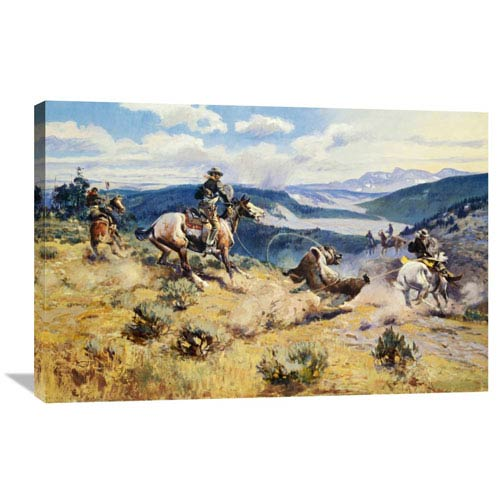 Global Gallery Loops And Swift Horses Are Surer Than Lead By Charles M. Russell, 36 X 24-Inch Wall Art