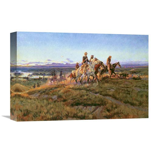 Global Gallery Men Of The Open Range By Charles M. Russell, 18 X 12-Inch Wall Art