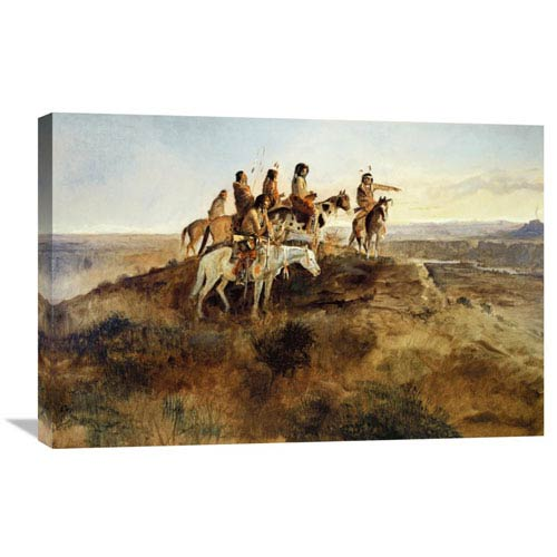 Global Gallery Signal Smoke By Charles M. Russell, 30 X 20-Inch Wall Art