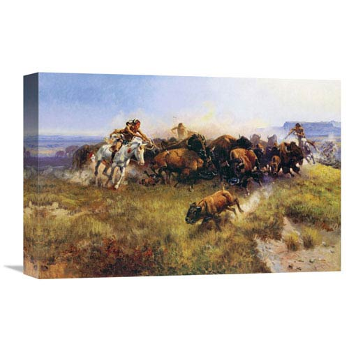 Global Gallery The Buffalo Hunt By Charles M. Russell, 18 X 12-Inch Wall Art