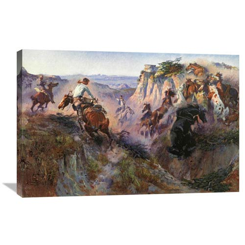 Global Gallery The Wild Horse Hunters By Charles M. Russell, 36 X 24-Inch Wall Art
