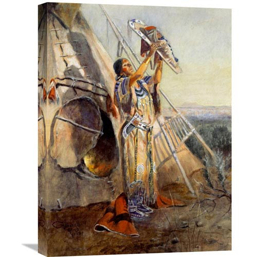 Global Gallery Sun Worship In Montana By Charles M. Russell, 18 X 24-Inch Wall Art