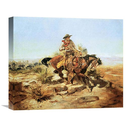 Global Gallery Riding Line By Charles M. Russell, 20 X 16-Inch Wall Art