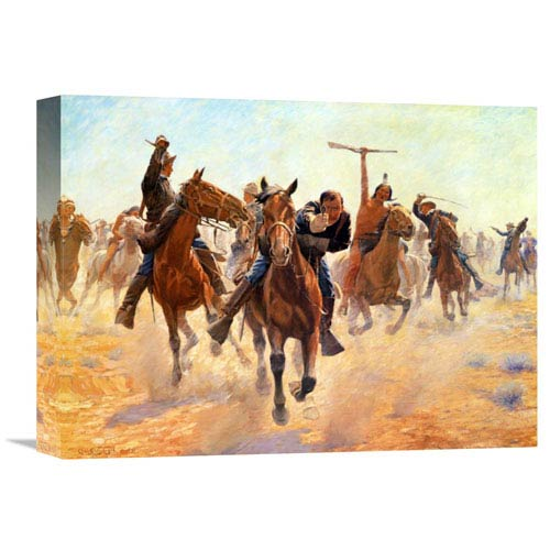 Global Gallery Breaking Through The Lines By Charles Schreyvogel, 16 X 12-Inch Wall Art