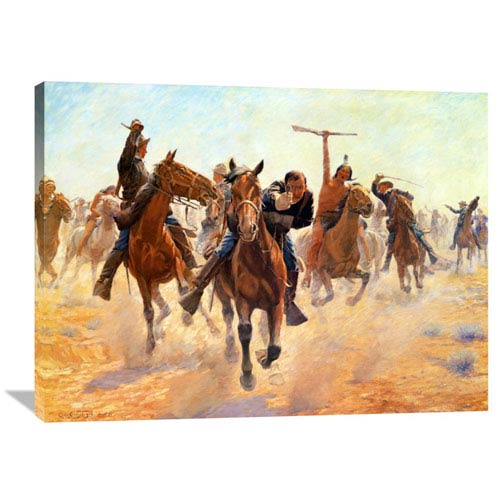 Global Gallery Breaking Through The Lines By Charles Schreyvogel, 40 X 30-Inch Wall Art