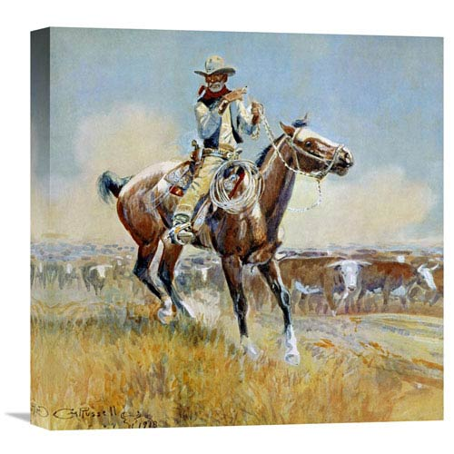 Global Gallery Beef For The Fighters By Charles M. Russell, 18 X 18-Inch Wall Art